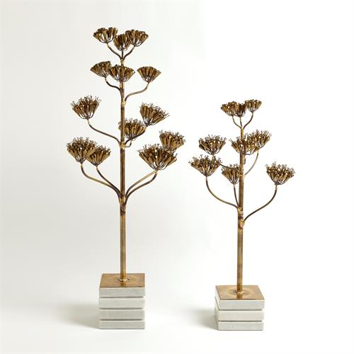 Blooming Century Plant Sculpture-Brass
