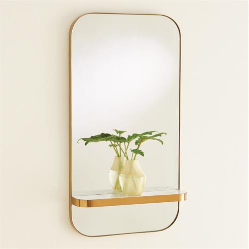 Train Car Mirror-Gold w/White Marble Shelf