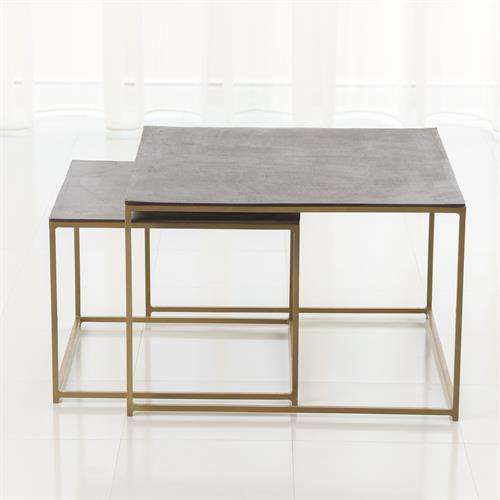 S/2 Sand Casted Nesting End Tables-Gold Frame w/Black Top