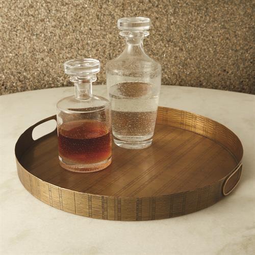 Kokoro Etched Round Tray-Brass