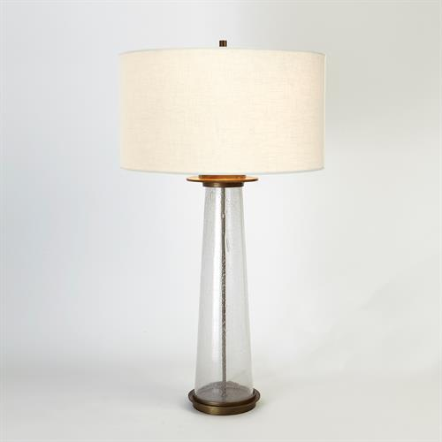 Seeded Glass Table Lamp-Antique Brass