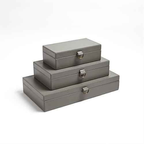 Marbled Leather D Ring Box-Dark Grey
