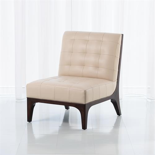 Tufted Slipper Chair-Beige Leather