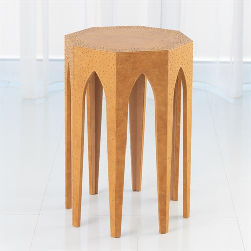 Vincent Arch Accent Table-Caramel Leather