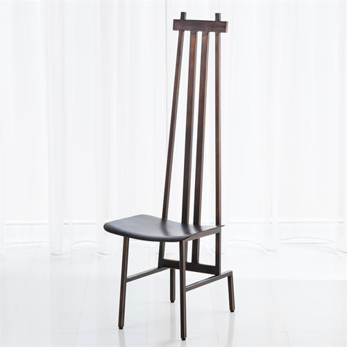 High Back Chair-Bronze/Dark Brown Leather