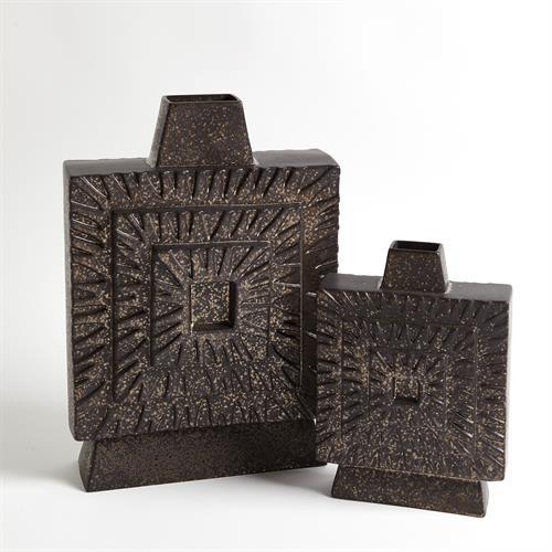 Artisan Square Vase-Bronze