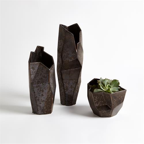 Origami Vase-Reactive Bronze