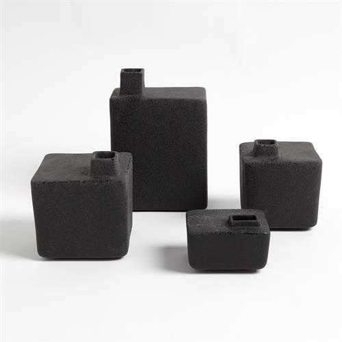 Square Chimney Vases-Black