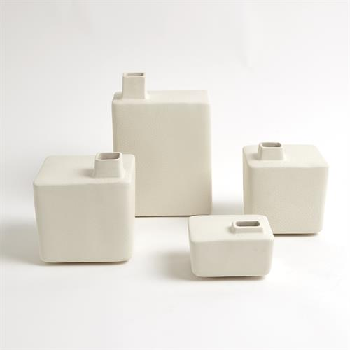 Square Chimney Vases-White