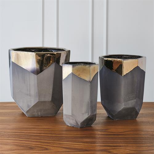 Faceted Banded Bronze Container