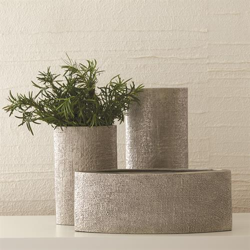 Hemp Etched Vases-Nickel