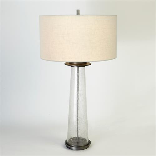 Seeded Glass Table Lamp-Antique Nickel