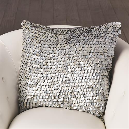 Mother of Pearl Beaded Pillow-Grey