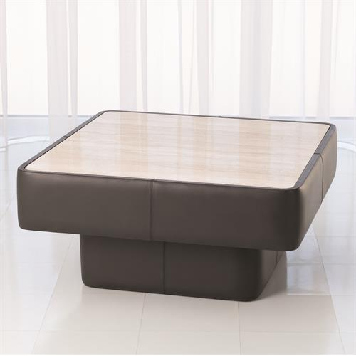 Leather Wrap Cocktail Table-Dark Grey w/Travertine Top