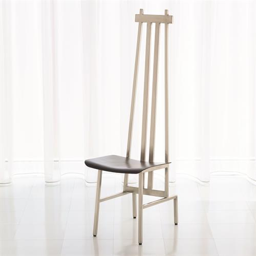 High Back Chair-Nickel/Dark Grey Leather