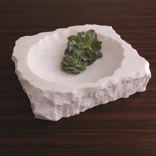 Chiseled Block Bowl-White Marble