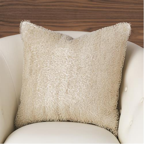 Beaded Pillow-White