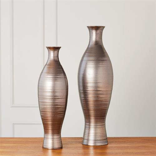 Horizontal Texture Vase-Bronze