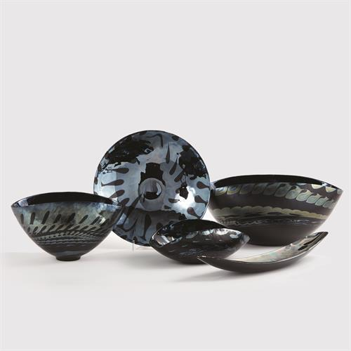 Black Silver Marble Murano Glass Collection