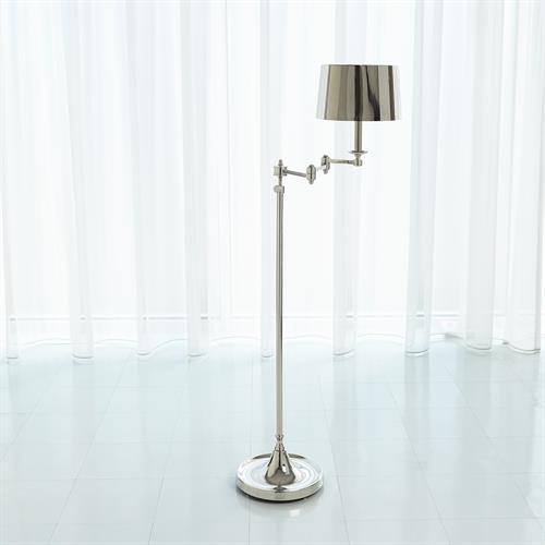 Swing Arm Floor Lamp-Nickel