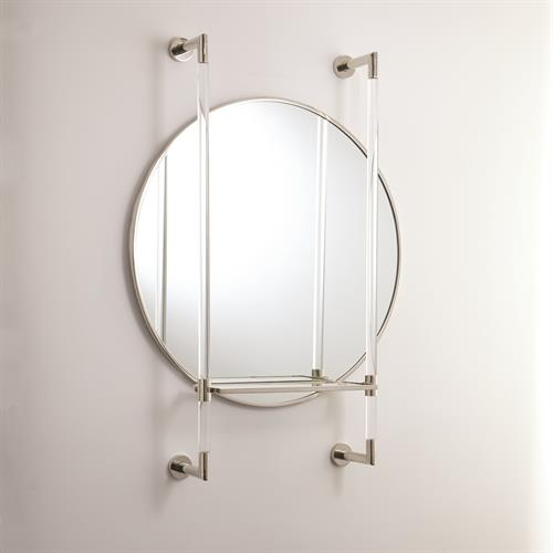 Oval Mirror with Shelf-Nickel