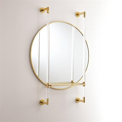 Oval Mirror with Shelf-Brass