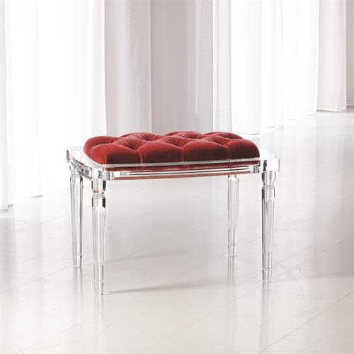 Marilyn Acrylic 4 Leg Bench-Red Pepper
