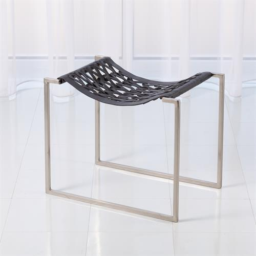 Knit & Pearl Stool-Nickel-Dark Grey Leather