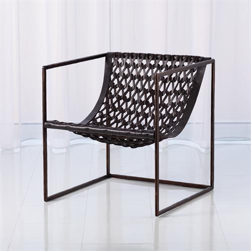 Knit & Pearl Chair-Bronze-Dark Brown Leather