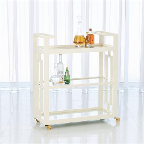 Grid Block Bar Cart-White