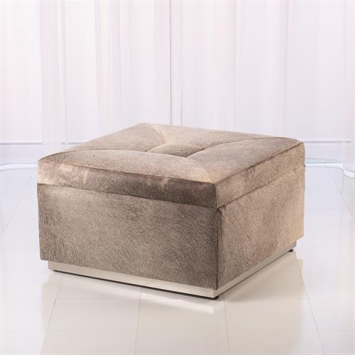 Metro Square Storage Ottoman - Grey Hair-on-Hide