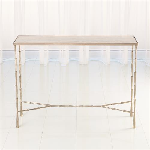 Spike Console-Antique Nickel w/White Marble