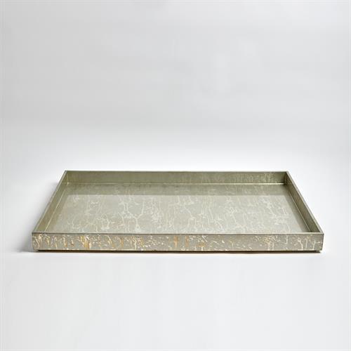 Champagne Silver Leaf Ottoman Tray