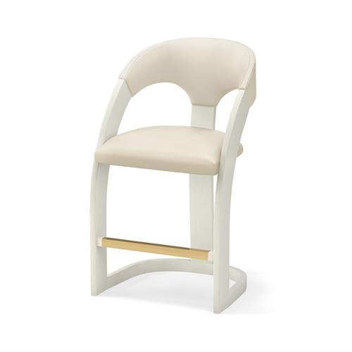 Delia Counter Stool-Antique White-Milk Leather