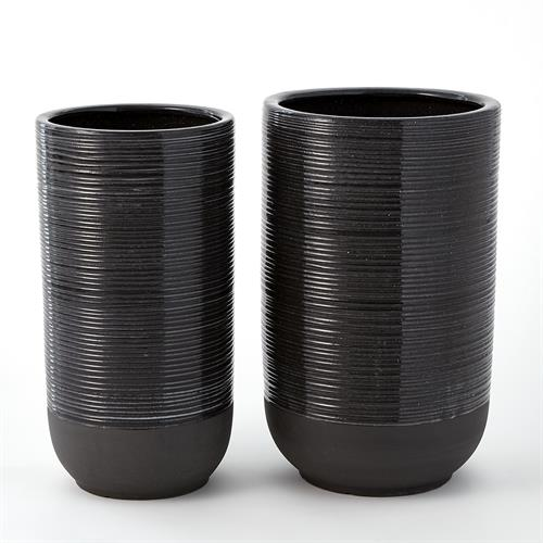 Flower Pot-Black Clear Glaze