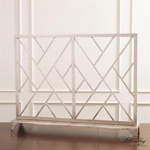 Chinoise Fret Fireplace Screen-Nickel