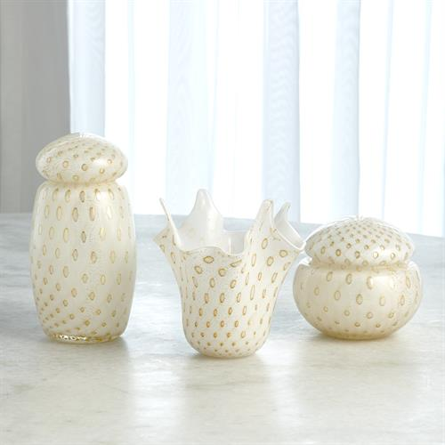 Glass Collection-White/Gold Bubbles