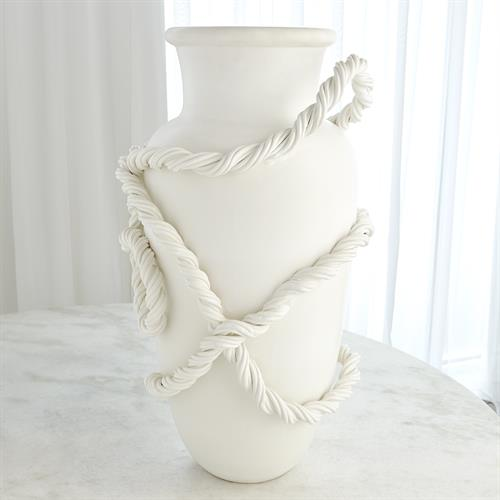Twisted Amphora Vase-Matte White