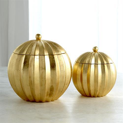 Spicchi Line Bowl w/Lid-Gold Leaf