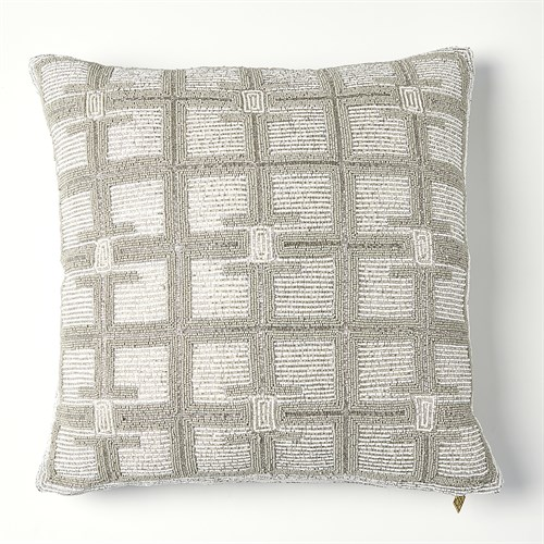 Beaded Pillow-Moonlight/Silver
