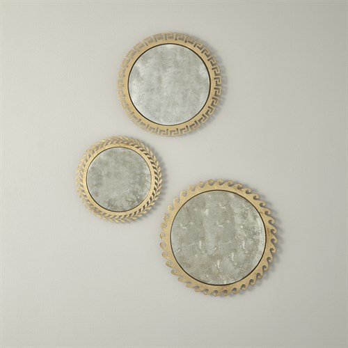S/3 Greek Isles Mirrors-Antique Gold Leaf