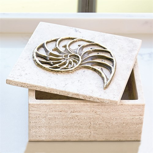 Bronze Nautilus Fossil Travertine Box