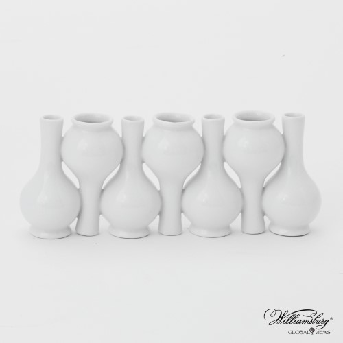 Chinoise Up Down Long Neck Bud Vase-White Crackle