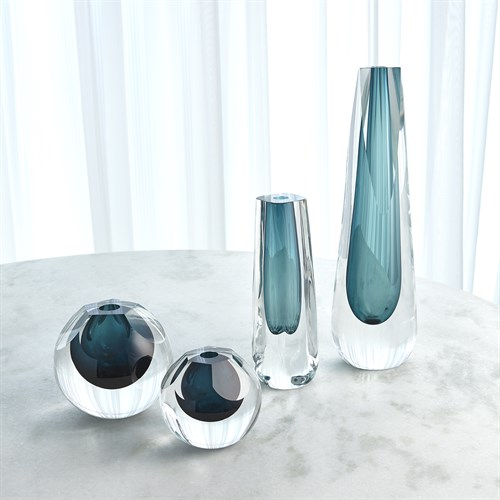 Hexagon Cut Glass Vase-Azure