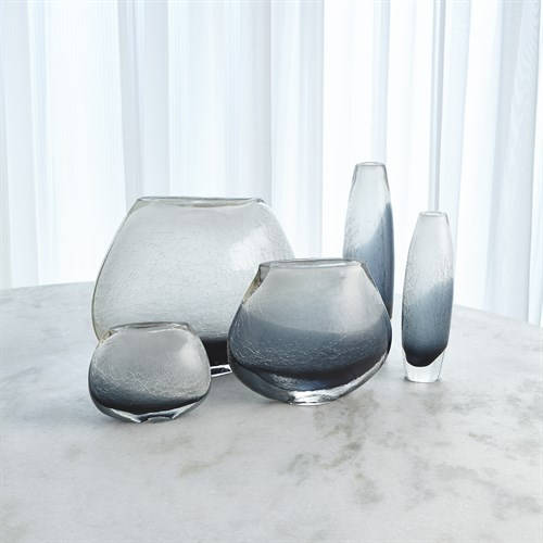 Crackled Frozen Vases-Indigo Blue