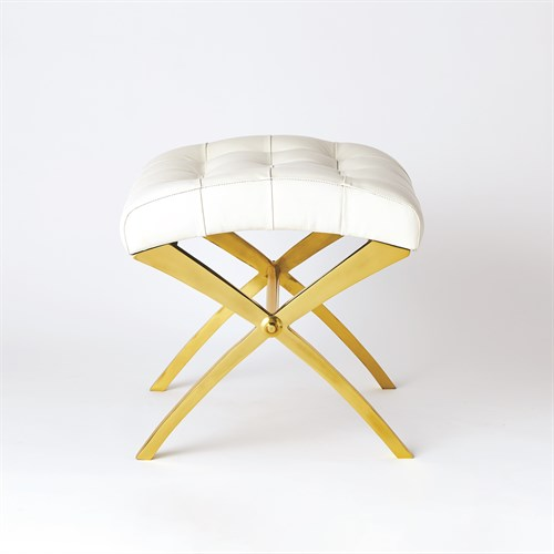 Scarlet Stool-Brass w/White Leather