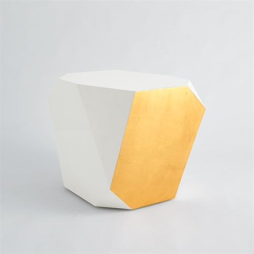 Gema Side Table-Ivory/Gold