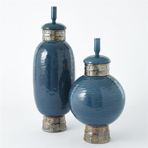 Maze Jar-Cobalt/Antique Gold