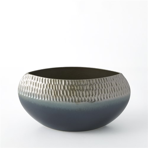 Carved Bowl-Pewter/Aqua