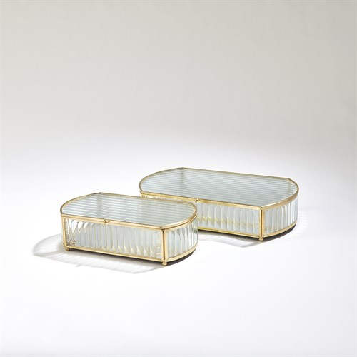 Reeded Glass Oval Box